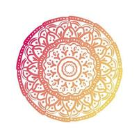 pink and orange circular mandala floral silhouette style icon vector