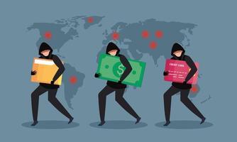 hacker grupal atacando durante la pandemia de covid 19 y el mapa mundial vector