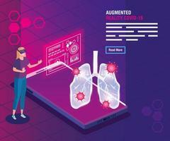 mujer con gafas realidad virtual y smartphone, realidad aumentada, coronavirus covid 19 vector