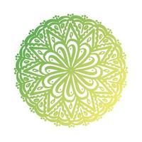 green circular mandala floral silhouette style icon vector