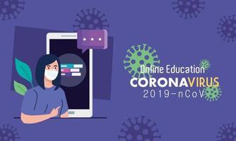 consejos de educación en línea para detener la propagación del coronavirus covid-19, aprendizaje en línea, mujer graduada con teléfono inteligente vector