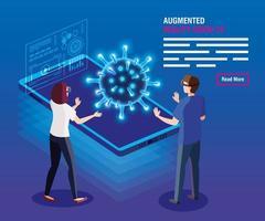 pareja con gafas realidad virtual y smartphone, realidad aumentada, coronavirus covid 19 vector