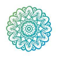 blue circular mandala floral silhouette style icon vector
