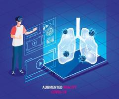 man with glasses virtual reality and smartphone, augmented reality, coronavirus covid 19 vector
