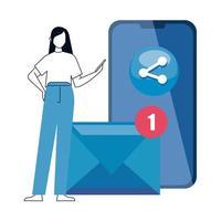 Mujer y teléfono inteligente con iconos de redes sociales, concepto de comunicación en línea sobre fondo blanco.