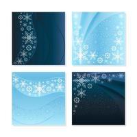 elegantes conceptos de tarjetas de copos de nieve con fondo azul claro y oscuro vector