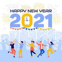 People Celebrating while Counting Down until New Year vector