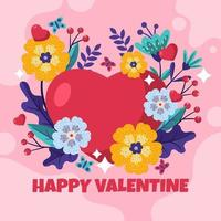 sentimientos de un corazón florido en el día de san valentín vector