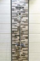 Gray shower backsplash