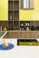 Yellow wall in kitchen