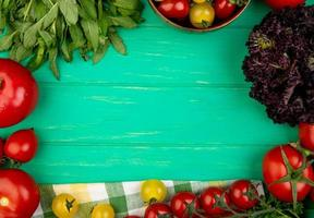 Veggies with green mint leaves tomato basil on green background photo