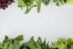 top view of vegetables as spinach mint basil cucumber lettuce on white background with copy space