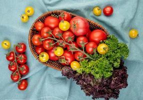 Vista superior de verduras como tomates cilantro albahaca en canasta con tomates sobre fondo de tela azul foto