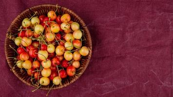 top view of basket full of yellow and red cherries on left side and bordo cloth background with copy space photo