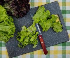 top view of cut lettuce with knife on cutting board and whole one with basil on plaid cloth background photo
