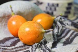 Granadilla, fruit on top of tissue photo