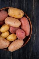 Top view of potatoes in basket on wooden background