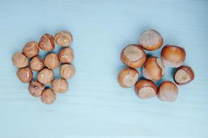 Top view of hazelnuts in shell and without shell on blue background