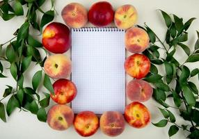 Peaches around note pad on white background decorated with leaves with copy space