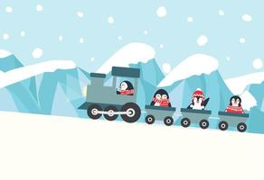 penguins riding a train to the North pole vector