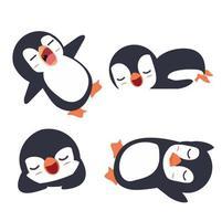 pingüinos durmiendo conjunto de dibujos animados vector