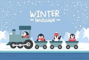 penguins riding  train in Winter North pole Arctic landscape vector