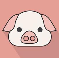 pig face head long shadow vector
