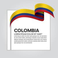 Colombia abstract wave flag ribbon vector