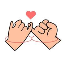 pinky promise with red thread vector