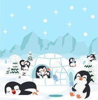 pingüinos haciendo actividades en su hábitat. vector
