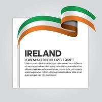 Ireland abstract wave flag ribbon vector