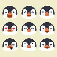 penguins face emotion vector set