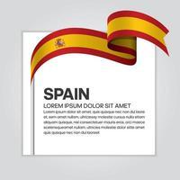Spain abstract wave flag ribbon vector