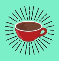 concepto de vector de taza caliente de café rojo