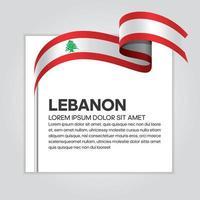 Lebanon abstract wave flag ribbon vector
