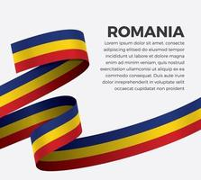 Romania abstract wave flag ribbon vector