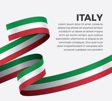Italia abstract wave flag ribbon vector