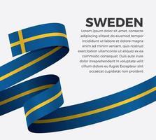 cinta de bandera de onda abstracta de suecia vector
