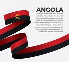 Angola abstract wave flag ribbon vector