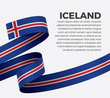 Iceland abstract wave flag ribbon vector