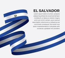 El Salvador abstract wave flag ribbon vector