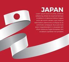 Japan abstract wave flag ribbon vector