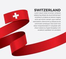 Switzerland abstract wave flag ribbon vector