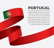 Portugal abstract wave flag ribbon vector