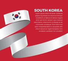 South Korea abstract wave flag ribbon vector