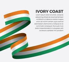 Ivory Coast abstract wave flag ribbon vector