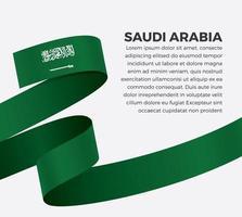 Saudi Arabia abstract wave flag ribbon vector