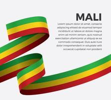 Mali abstract wave flag ribbon vector
