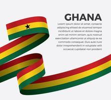 Ghana abstract wave flag ribbon vector