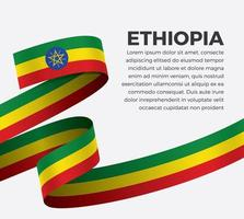 Ethiopia abstract wave flag ribbon